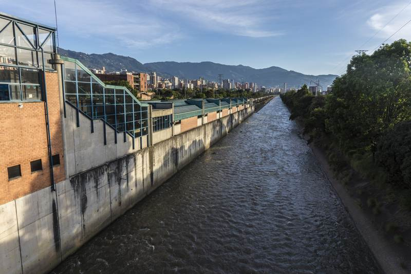 Poblado Metro Station and Medellín River