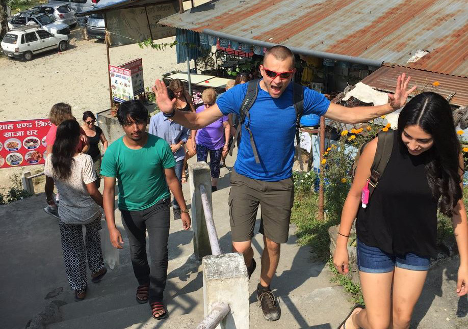 Expressing my excitement during a weekend trip to Pokhara, Nepal